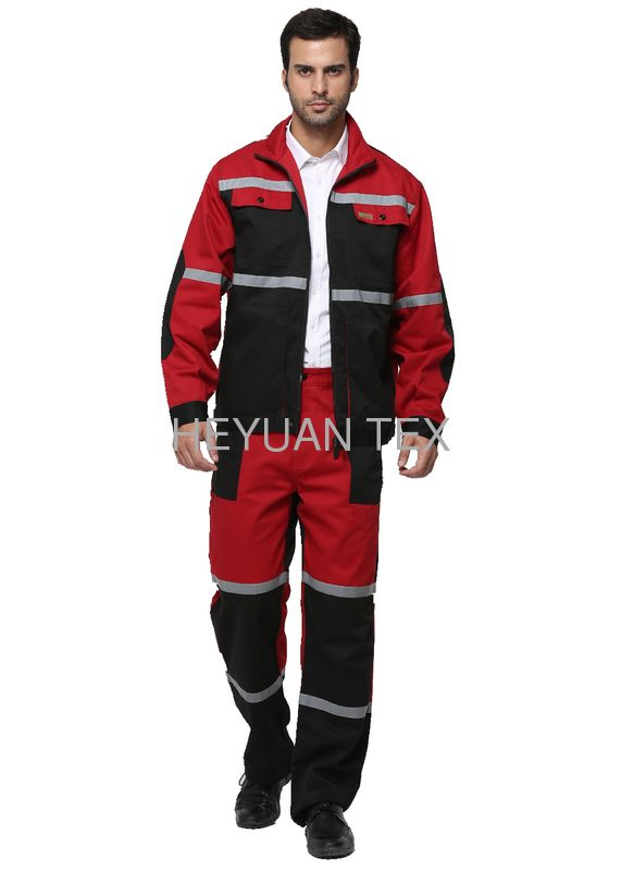 Triple Stitching Industrial Work Clothes / Industrial Coverall Uniforms With Reflecitve Tape